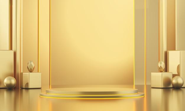 Modèle debout métallique doré pour les produits publicitaires et commerciaux, rendu 3d.
