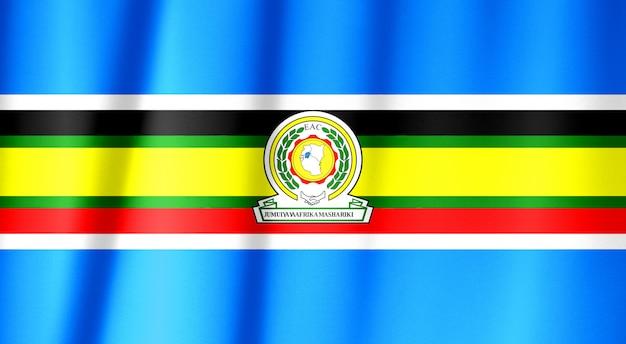 Modèle de drapeau de la communauté de l'afrique de l'est sur la texture du tissu