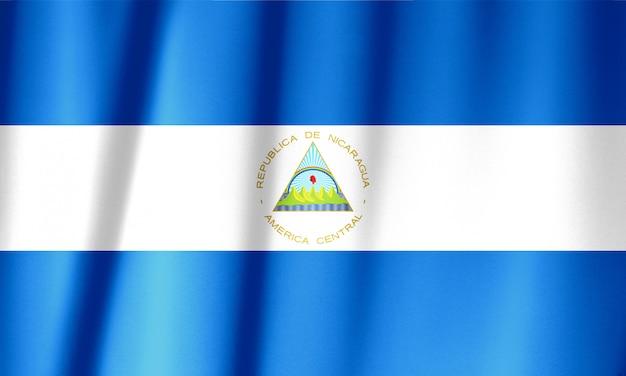 Modèle de drapeau du nicaragua sur la texture du tissu, style vintage