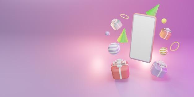 Modèle d'écran vide de smartphone avec boîte-cadeau de noël, boules, illustration 3d