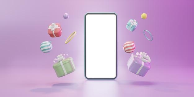 Modèle d'écran vierge de smartphone avec boîte-cadeau de noël, boules, illustration 3d