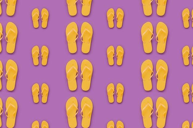 Modèle d'été avec des tongs jaunes