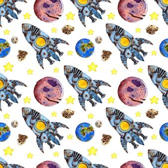 Modèle d'étoiles et de planètes de fusée à l'aquarelle transmission du signal de voyage dans l'espace d'exploration spatiale