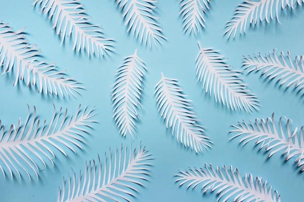 Modèle fait de plumes épineuses blanches feuilles sur fond bleu