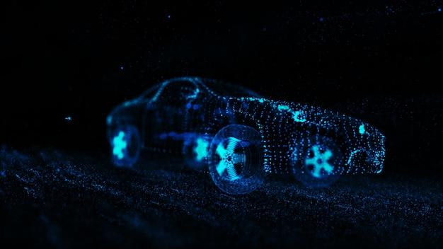 Modèle de fil de voiture de sport avec néon bleu