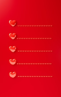 Modèle de fond coeurs saint valentin rendu 3d illustration. mise à plat de couleur rouge audacieux. carte de voeux de lettre d'amour avec un espace pour le texte