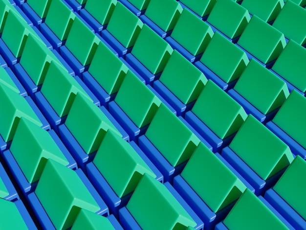 Modèle géométrique 3d de maison de toit vert