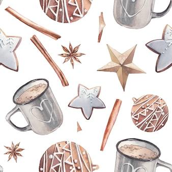 Modèle d'heure d'hiver aquarelle avec des biscuits de sable de café.