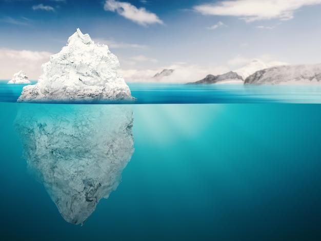 Modèle d'iceberg de rendu 3d sur l'océan bleu