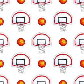 Modèle d'illustration aquarelle panier de basket-ball et ballon de la coupe du monde de basket-ball répétant sans couture