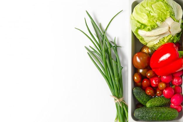 Modèle d'ingrédients colorés de salade composé de tomates cerises, tomates, romarin, concombre, oignon, piment, radis de jardin et paprika. concept de cuisine.