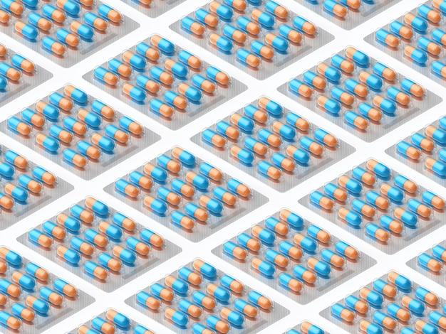 Modèle isométrique en blister isolé sur blanc