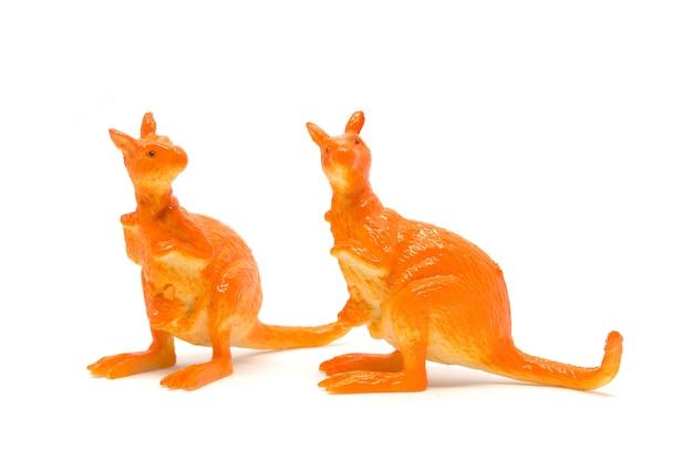 Modèle kangourou isolé sur fond blanc, jouets en plastique pour animaux