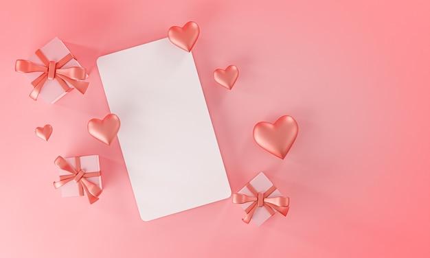 Modèle de maquette de carte valentine mariage amour forme de coeur et boîte-cadeau vue de dessus rendu 3d