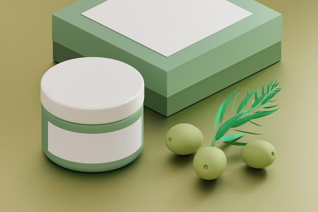 Modèle de maquette de cosmétiques avec pot de crème, boîte et olives