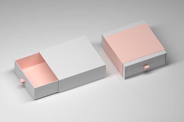 Modèle de maquette de deux boîtes-cadeaux de diapositives carrées avec des accents de couleur pastel. illustration 3d.