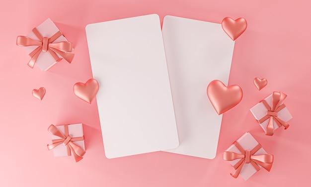 Modèle de maquette de deux cartes valentine mariage amour forme de coeur et boîte-cadeau vue de dessus rendu 3d