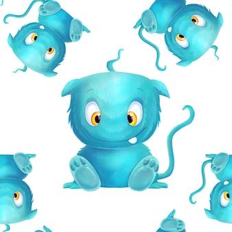 Modèle avec monstre bleu mignon sur blanc