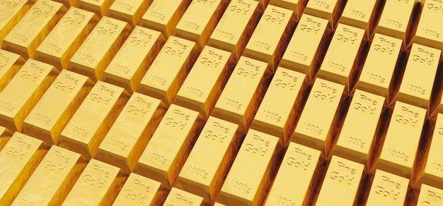 Modèle de nombreux lingots d'or fin avec une lumière intense
