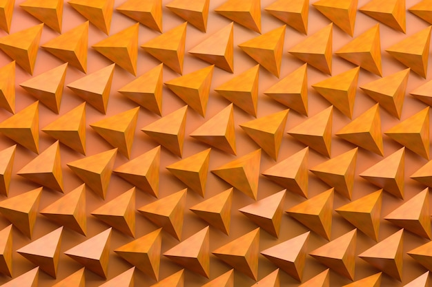 Modèle avec de nombreux piramids sur fond orange. illutration 3d.