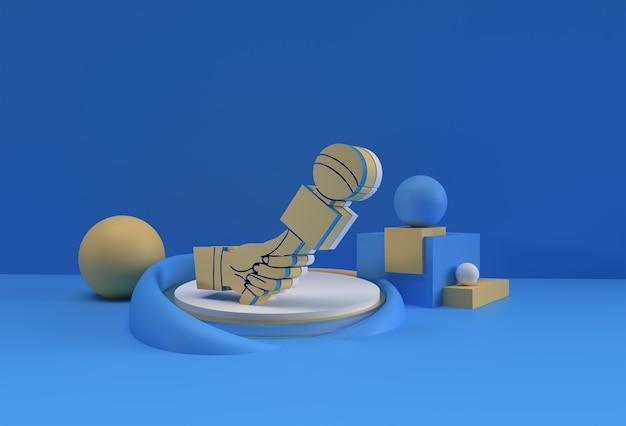Modèle de nouvelles en direct 3d avec microphone. affichage des produits concept de journalisme publicitaire, illustration de rendu 3d.