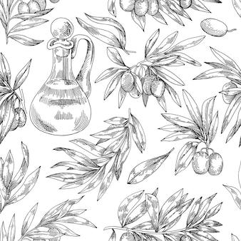 Modèle avec des olives dans le style de la gravure d'aliments biologiques de dessin en noir et blanc