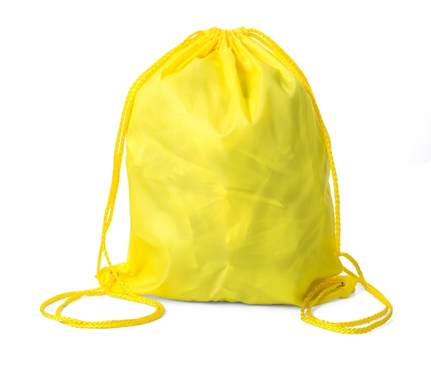 Modèle de pack de cordon de serrage jaune classique isolé sur blanc
