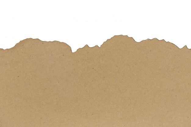 Modèle de papier brûlé brun isolé sur fond blanc