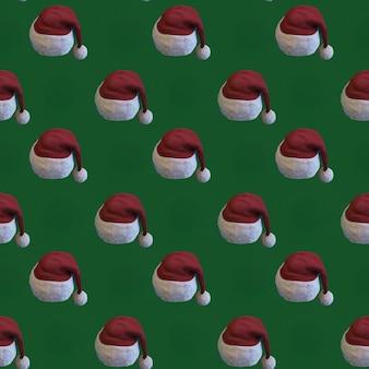 Modèle de pères noël rouges et blancs sur vert