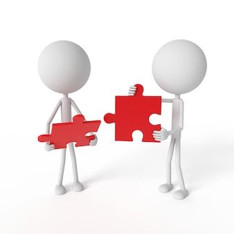 Modèle de personnes et puzzle avec concept de travail d'équipe
