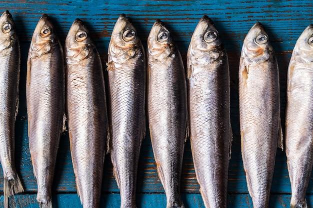 Modèle de poisson. poisson hareng sur un vieux fond en bois bleu.