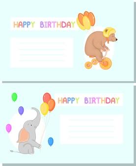 Modèle pour carte de voeux ou invitation d'anniversaire en style cartoon