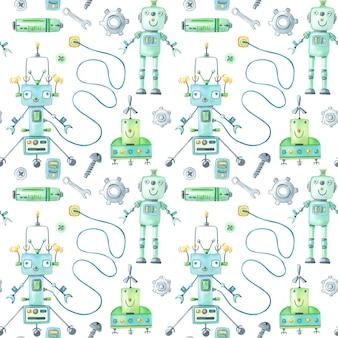 Modèle de robots et d'outils aquarelle sur fond blanc.