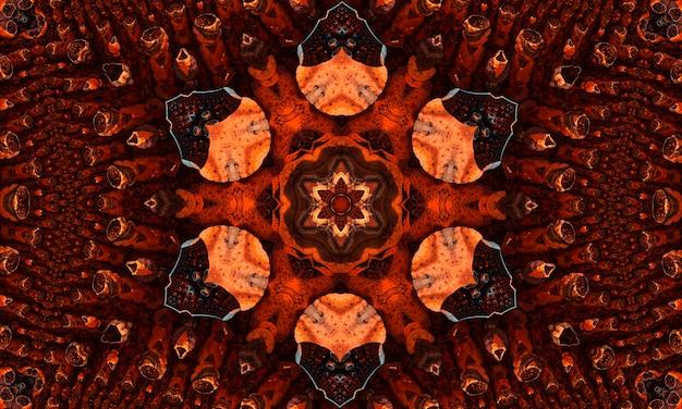 Modèle sans couture abstrait de kaléidoscope groovy de gingembre avec des éléments rougeoyants kaléidoscopiques ronds