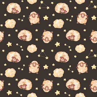 Modèle sans couture d'agneaux avec étoiles, bébé mouton