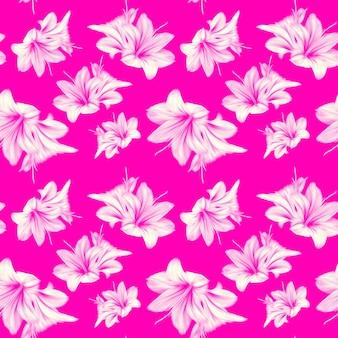 Modèle sans couture d'amaryllis flou dans des couleurs néon à la mode. fleurs blanches sur fond rose. peut être utilisé comme tissu, papier peint, emballage.