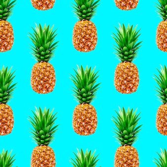 Modèle sans couture d'ananas sur bleu
