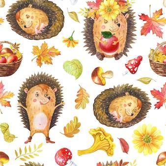 Modèle sans couture aquarelle avec des animaux et des fleurs. hérisson de dessin animé aquarelle mignon