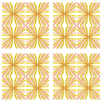 Modèle sans couture aquarelle azulejo. carreaux de céramique traditionnels portugais. abstrait dessiné à la main. oeuvre d'art à l'aquarelle pour le textile, le papier peint, l'impression, la conception de maillots de bain. motif azulejo jaune.