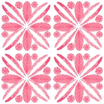 Modèle sans couture aquarelle azulejo. carreaux de céramique traditionnels portugais. abstrait dessiné à la main. oeuvre d'art à l'aquarelle pour le textile, le papier peint, l'impression, la conception de maillots de bain. motif azulejo rouge.