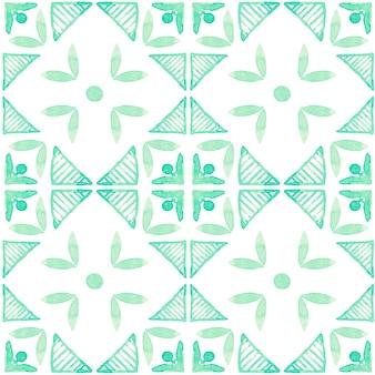 Modèle sans couture aquarelle azulejo. carreaux de céramique traditionnels portugais. abstrait dessiné à la main. oeuvre d'art à l'aquarelle pour le textile, le papier peint, l'impression, la conception de maillots de bain. motif azulejo vert.