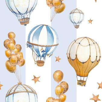 Modèle sans couture aquarelle avec ballon à air et étoiles. illustration de collage vintage dessiné à la main avec ballon à air chaud, guirlandes de drapeau, rayures pastel et étoiles.