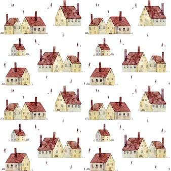 Modèle sans couture d'aquarelle avec des bancs de cheminées de vieilles maisons européennes isolés sur fond blanc
