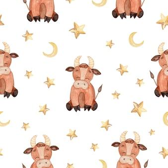 Modèle sans couture aquarelle bébé brun taureau et étoiles