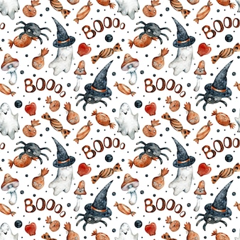 Modèle sans couture aquarelle avec des bonbons d'halloween orange, des citrouilles, des fantômes, des champignons, des chapeaux noirs et des pointes