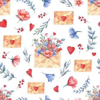 Modèle sans couture aquarelle avec bouquet de fleurs, coeurs, enveloppes. concept de la saint-valentin.