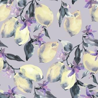 Modèle sans couture aquarelle avec branche de citron d'agrumes frais