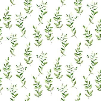 Modèle sans couture aquarelle de brindilles vertes.