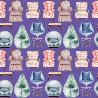 Modèle sans couture aquarelle chaises et bancs rembourrés. élément intérieur