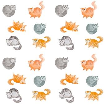 Modèle sans couture aquarelle chats mignons